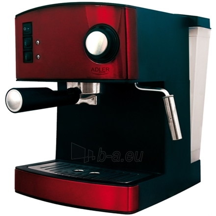 Kavos virimo aparatas Adler AD 4404 r Espresso machine, 15 bar, 1,6 L water tank, 850W, Red