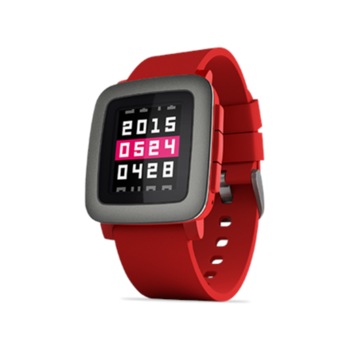 Pebble Time Smartwatch, Tactile buttons for easy, eyes-free control, Grey, Red, 30 m