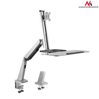 Maclean MC-728 Single Display Sit-Stand Workstation Desk Mount