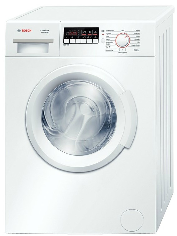 Bosch Washing machine WAB24166SN Front loading, Washing capacity 6 kg, 1200 RPM, A+++, Depth 55 cm, Width 60 cm, White, Display, LED