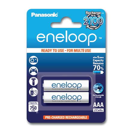 Eneloop Ready To Use Rechargeable Battery 2x AAA BK-4MCCE-2BE (800mAh)/ Recharge 2100 Times