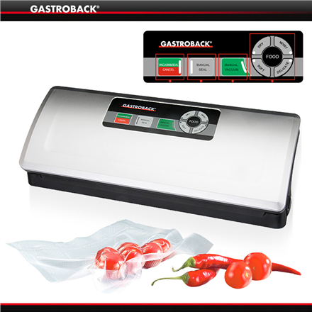 Gastroback Vacuum Sealer  46008 Two operating modes, fully automatic and manual, Inox, 120 W, 10 slipped foil bags (small and large)