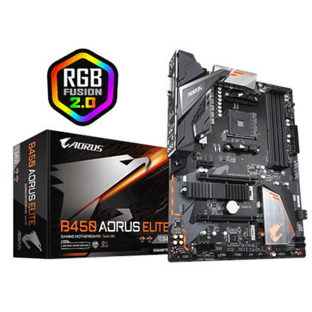 Gigabyte B450 AORUS ELITE 1.0, AM4, 4xDDR4-3200, DVI-D/HDMI, USB-C
