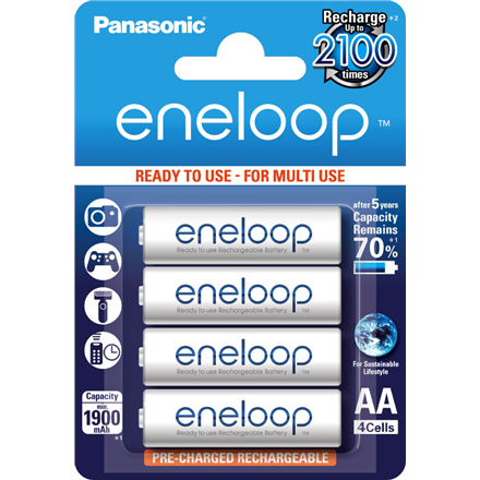 Eneloop Ready To Use Rechargeable Battery 4x AA BK-3MCCE-4BE (1900mAh)/ Recharge 2100 Times/ Retains 90% Charge After 1 Year