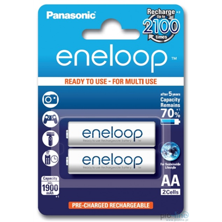 Eneloop Ready To Use Rechargeable Battery 2x AA BK-3MCCE-2BE (2000mAh)/ Recharge 2100 Times