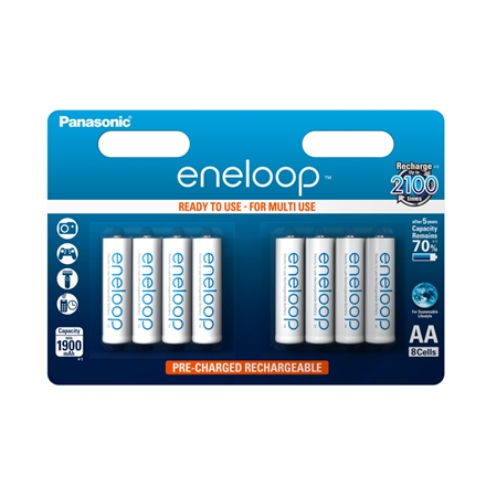 Eneloop Ready To Use Rechargeable Battery 8x AA BK-3MCCE-8BE (2000mAh)/ Recharge 2100 Times