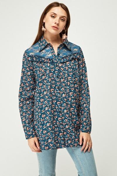 Lace Insert Floral Print Shirt