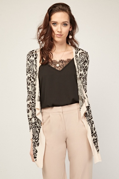Floral Knitted Asymmetric Cardigan