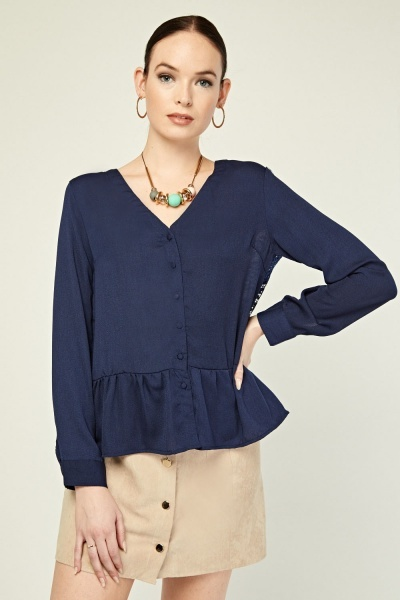 Flared Hem Lace Detail Top