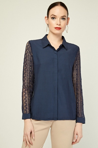 Lace Insert Button Up Shirt