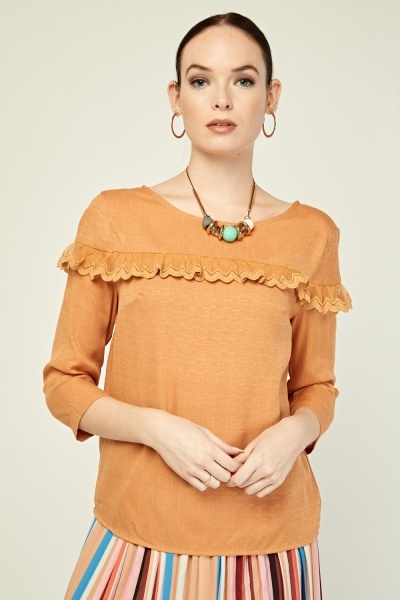 Lace Insert Casual Blouse