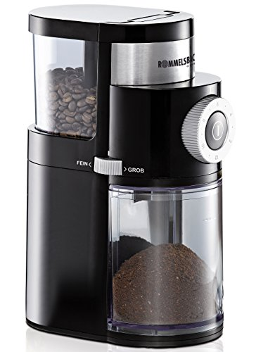 Rommelsbacher EKM 200 Coffee Mill with disc grinder, 250g bean container, 110W, Black