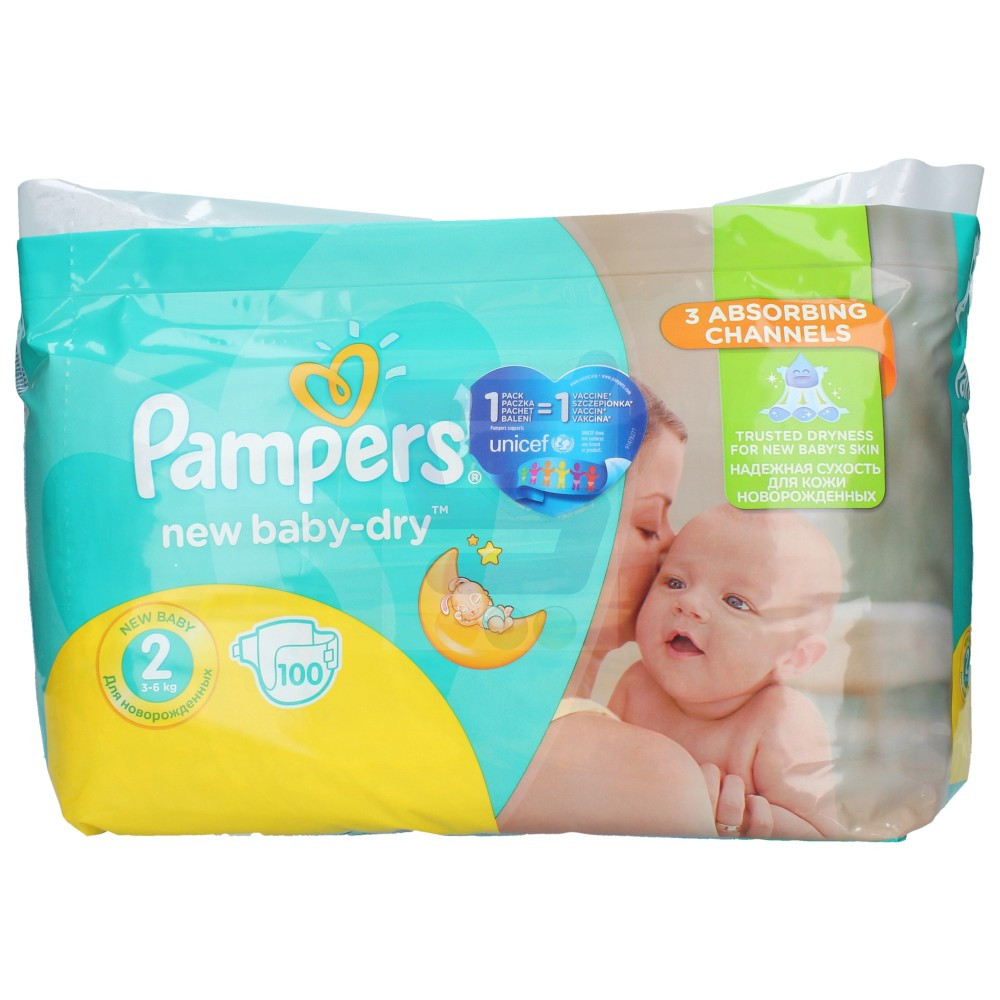 Sauskelnės PAMPERS NEW BABY-DRY 2 dydis 3-6 kg, 100 vnt