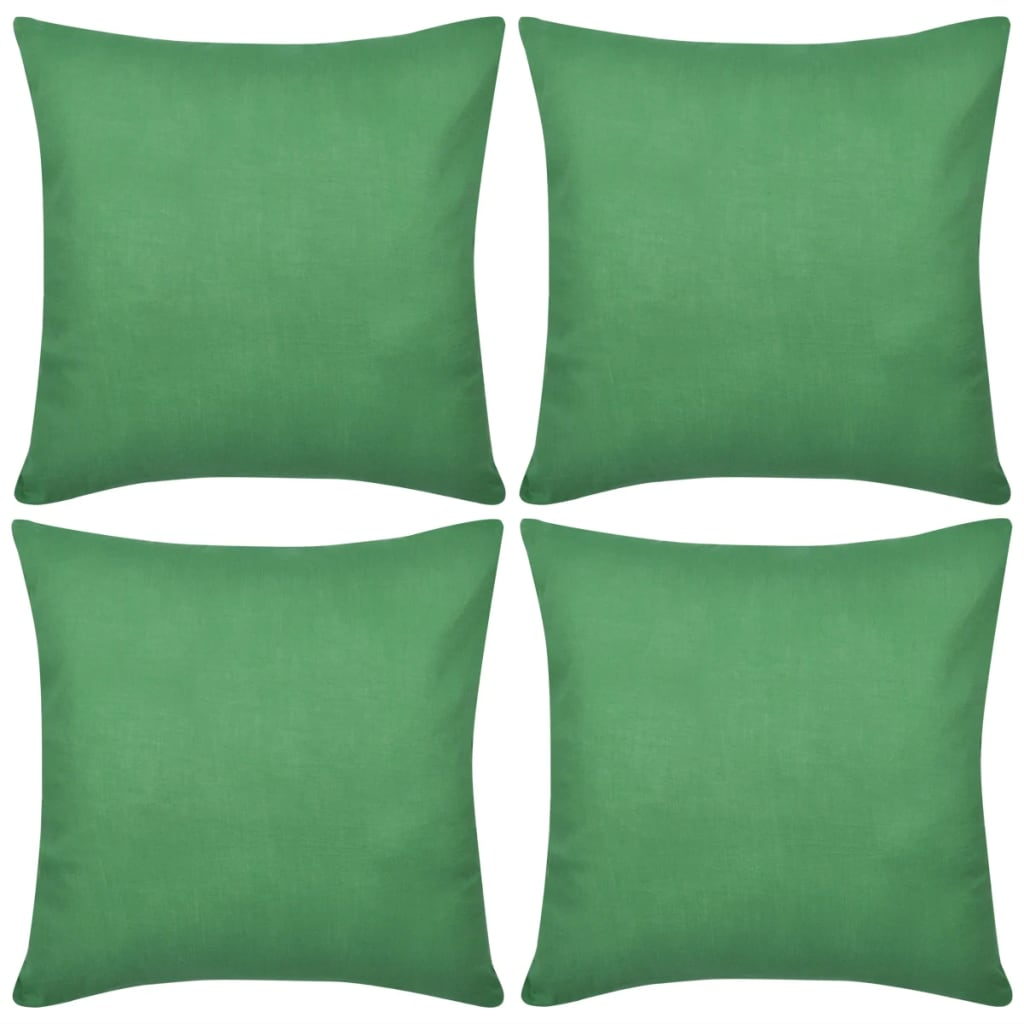 vidaXL 4 Žali Pagalvėlių Užvalkalai, Medvilnė, 40 x 40 cm