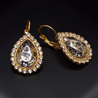 Diamond Sky Earrings With Swarovski Elements Heavenly Drop Rose Patina