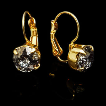 Diamond Sky Earrings With Swarovski Elements Magnificence Black Patina