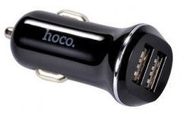 Hoco Premium Z1 Fast Dual USB 2.1A 2x USB Car Charger + Lightning USB Cable Black