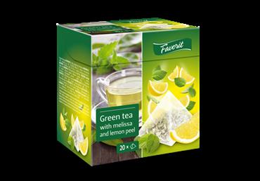 Žalioji arbata FAVORIT su melisomis ir citrinų žievelėmis, 20 vnt.