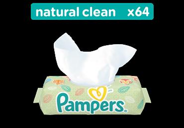 Drėgnos servetėlės PAMPERS Baby Wipes Natural Clean 64 vnt